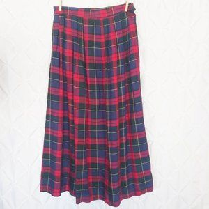VNT red plaid, pleated maxi skirt